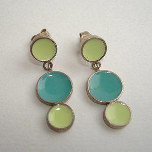 Aqua Lime Dot Enamel Earrings Green Blue SS